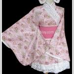 ยูกาตะสวีทโลลิต้า สีชมพู ลายดอกไม้ Sweet Pink Lolita Yukata