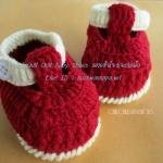 รองเท้ารัดข้อสีแดงสายสีครีม ขนาด 3-6 เดือน