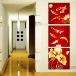 ภาพปลาคาร์ฟ 9ตัว พื้นแดงแนวตั้ง ได้ 3ภาพ Art-nn0