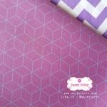 ผ้าคอตตอนไทย 100% 1/4ม.(50x55ซม.) พื้นสีม่วง เล่นลายเส้นสีเทา