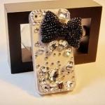 เคสไอโฟน 5/5s/SE (Case Iphone 5/5s/SE) กรอบโปร่งใส ประดับคริสตัล ผูกโบว์ดำ สุดหรูหรา