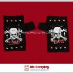 ถุงมือพังค์ Punk Gloves สกรีนลายหัวกะโหลก สีขาวแดง ประดับด้วยเข็มกลัดและสายโซ่