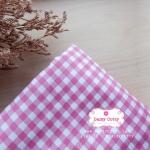 ผ้าคอตตอน 100% 1/4 ม.(50x55ซม.) ลายตารางสีชมพู