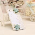 เคสไอโฟน 6/6s (Hard Case ) กรอบขาว ประดับมุกและดอกไม้สีฟ้า