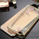 เคสไอโฟน 7 (TPU CASE) Gold Pink Flower