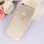 เคสไอโฟน 6/6s (TPU case หักบิดงอได้) สีขาวใส ประดับเพชรเรียบหรู