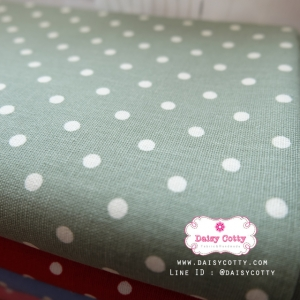 ผ้าคอตตอนลินิน 1/4ม.(50x55ซม.) พื้นสีเขียว ลายจุดสีขาว