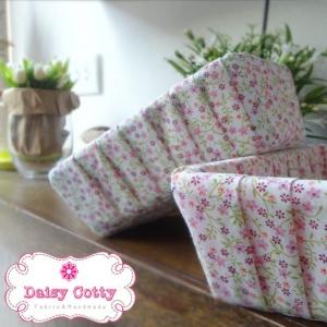 ตะกร้าผ้าใส่ของ ลายดอกเล็กๆสีชมพู