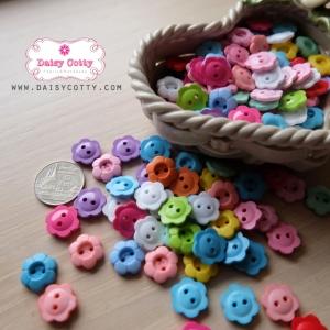 กระดุมลายดอกไม้คละสี ขนาด 1.3 ซม. จำนวน 12 เม็ด(1โหล)