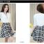 เดรสแฟชั่นเกาหลี ตัวเสื้อผ้าชีฟองสีพื้น รับกับกระโปรงลายสก็อตลายสวย thumbnail 4