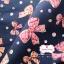 ผ้าคอตตอนไทย 100% 1/4 ม.(50x55ซม.) พื้นสีน้ำเงินกรมท่า ลายโบว์ thumbnail 1