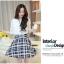 เดรสแฟชั่นเกาหลี ตัวเสื้อผ้าชีฟองสีพื้น รับกับกระโปรงลายสก็อตลายสวย thumbnail 8