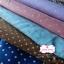 ผ้าคอตตอนลินิน 1/4ม.(50x55ซม.) พื้นสีน้ำเงิน ลายจุดสีขาว thumbnail 4