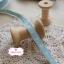 ริบบิ้นผ้าแถบ สีฟ้า ลายหัวใจสีเหลือง กว้าง 1 ซ.ม. แบ่งขายเป็นหลา thumbnail 3