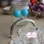 ปากกระเป๋า ปิ๊กแป๊กแบบโค้ง สีเงิน ลูกตุ้มสีฟ้า กว้าง 8 ซม. (3 นิ้ว) thumbnail 7
