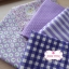 Set 5 ชิ้น : ผ้าคอตตอน100% โทนสีม่วง 4 ลาย และผ้าแคนวาสลายตาราง แต่ละชิ้นขนาด1/8 ม.(50x27.5ซม.) thumbnail 2