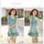 เดรสสั้นจาก Tokyo fashion ผูกโบว์แบบผีเสื้อที่หน้าอก - เขียว thumbnail 3