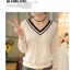 เสื้อแฟชั่นเกาหลี ทรงคอวีตัดด้วยลูกไม้สวยๆ ปกเสื้อสีดำ ช่วยขับให้ดูมีมิติเพิ่มขึ้น thumbnail 17
