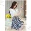 เดรสแฟชั่นเกาหลี ตัวเสื้อผ้าชีฟองสีพื้น รับกับกระโปรงลายสก็อตลายสวย thumbnail 10