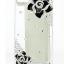 เคสไอโฟน 4/4s กรอบโปร่งใสประดับเพชรและดอกกุหลาบดำ thumbnail 1