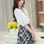 เดรสแฟชั่นเกาหลี ตัวเสื้อผ้าชีฟองสีพื้น รับกับกระโปรงลายสก็อตลายสวย thumbnail 13