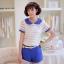 เสื้อแฟชั่นเกาหลีแขนตุ๊กตาี เก๋ๆ ด้วยลายขวาง สลับกับผ้าชีฟองแบบซีทรู น่ารักแบบสาวๆ วัยใส thumbnail 1