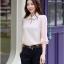 เสื้อแฟชั่นเกาหลีแขนสามส่วน ตกแต่งด้วยลูกไม้ผ้าชีฟอนและโบว์ ดูไฮโซฝุดๆ thumbnail 2