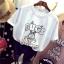 เสื้อยืดแฟชั่น สกรีนลายการ์ตูนยอดฮิต แต่งด้วยหมุดสีเงิน วิบวับสะดุดตา thumbnail 3