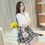 เดรสแฟชั่นเกาหลี ตัวเสื้อผ้าชีฟองสีพื้น รับกับกระโปรงลายสก็อตลายสวย thumbnail 14