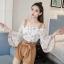 เซ็ทเสื้อ+กางเกงแฟชั่นสไตล์สาวเกาหลี ลายสวย เนื้อดี น่าสวมใส่ thumbnail 2