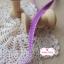 ริบบิ้นผ้าแถบ สีม่วงแต่งขอบเส้นปะสีขาว กว้าง 0.8 ซม. thumbnail 4