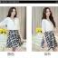 เดรสแฟชั่นเกาหลี ตัวเสื้อผ้าชีฟองสีพื้น รับกับกระโปรงลายสก็อตลายสวย thumbnail 3