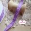 ริบบิ้นผ้า พื้นสีม่วง ลายดอกไม้สีชมพู กว้าง 1ซม. thumbnail 2