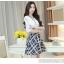 เดรสแฟชั่นเกาหลี ตัวเสื้อผ้าชีฟองสีพื้น รับกับกระโปรงลายสก็อตลายสวย thumbnail 6