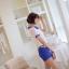 เสื้อแฟชั่นเกาหลีแขนตุ๊กตาี เก๋ๆ ด้วยลายขวาง สลับกับผ้าชีฟองแบบซีทรู น่ารักแบบสาวๆ วัยใส thumbnail 3
