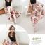 เดรสแฟชั่นเกาหลี กระโปรงยาวลายดอกไม้จับกลีบแบบกระโปรงพรีส ตัดกับเสื้อกล้ามสีดำ thumbnail 4
