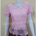 เสื้อลูกไม้ ชายผ้าแก้ว สีชมพู เบอร์ xxl อกเสื้อวัดเต็ม 42 นิ้ว