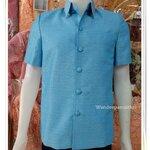 เสื้อผ้าไหมญี่ปุ่นซาฟารี สีฟ้า ซับผ้ากาวทั้งตัวมีซับใน มีเสริมไหล่ กระเป๋า 3 ใบ เบอร์ S