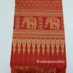 ผ้าไหมขิดคลองลาน 40 นิ้ว ลายช้างเดินตาม สีแดง
