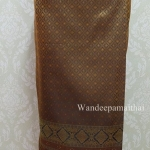 ผ้าถุงไหมสำเร็จรูป สีไพรทอง เอว30-32 นิ้ว