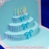 A38 การ์ดป๊อปอัพไดคัท Happy Birthday Cake สีฟ้า