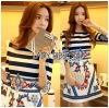 Lady Jennifer Casual Chic Striped and Floral Printed Dress