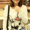 เสื้อแฟชั่นเกาหลี แขนยาวพิมพ์ลายลูกหมาน่ารักๆ T763