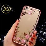 เคสไอโฟน 7 (TPU CASE) Rose Gold Pink Flower