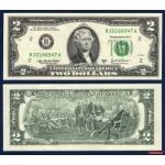 ธนบัตรประเทศ สหรัฐอเมริกา P 516 ชนิดราคา 2 DOLLARS (ดอลลาร์) ของแท้ ยังไม่ใช้