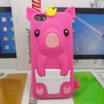 เคสไอโฟน 5/5s (Case Iphone 5/5s) เคสซิลิโคน หมูน้อย สีชมพูเข้ม