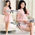 Lady Anita Sweet Feminine Pearl Embellished Lace Dress