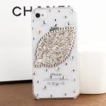 เคสไอโฟน 4/4s (Case Iphone 4/4s) เคสไอโฟนกรอบใสประดับเพชรรูปใบไม้