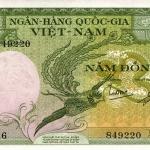 ธนบัตรเวียดนามใต้ รหัส P2 ชนิด 5 ดอง สภาพ aUNC เหมือนกับไม่เคยผ่านการใช้งาน ปี 1955