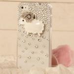 เคสไอโฟน 4/4s (Case Iphone 4/4s) ( เคสไอโฟนกรอบโปร่งใสประดับเพชร รูปแกะน้อย )